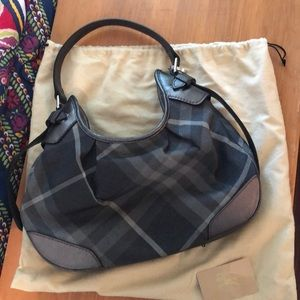 Burberry silver hobo style bag